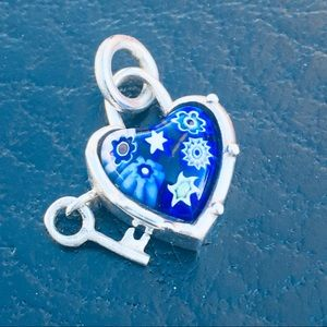 Jewelry - Murano Glass Key From Heart Necklace 925 Silver